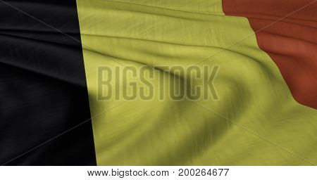 3D illustration of Belgian flag fluttering in light breeze