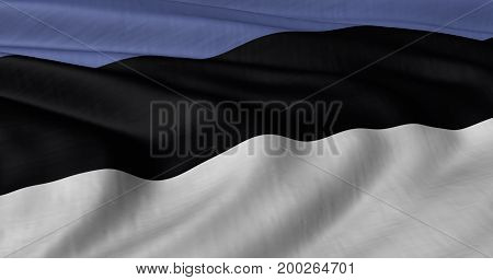 3D illustration of Estonian flag fluttering in light breeze
