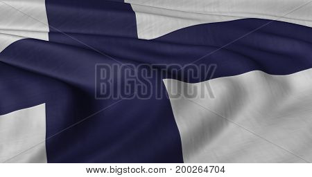 3D illustration of Finnish flag fluttering in light breeze