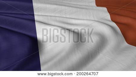 3D illustration of French flag fluttering in light breeze