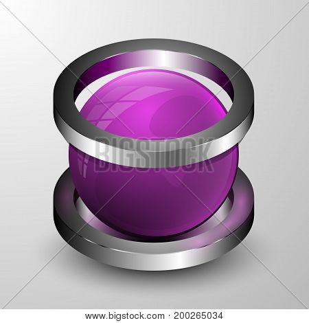 The vector 3d sphere with two rings.Realistic illustration