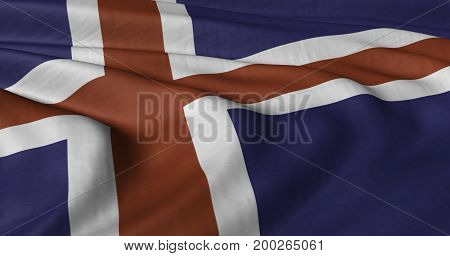 3D illustration of Icelandic flag fluttering in light breeze
