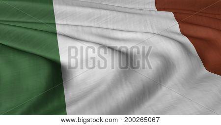 3D illustration of Italian flag fluttering in light breeze
