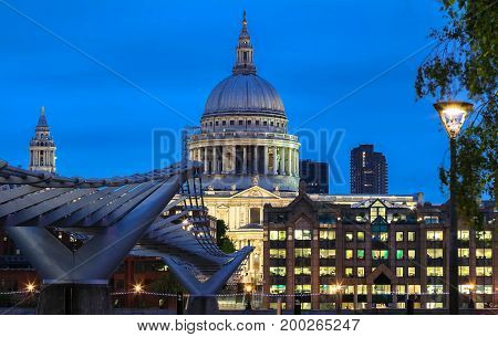 The nighttime view of the dome of Saint Paul's Cathedral, City of London, United Kingdom.
