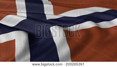 3D illustration of Norwegian flag fluttering in light wind.