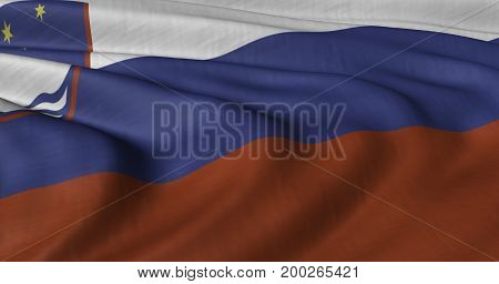 3D illustration of Slovenia flag fluttering in light wind.
