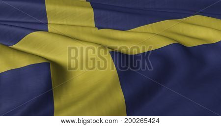 3D illustration of Swedish flag fluttering in light wind.