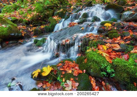 Small Waterfall In Mountains