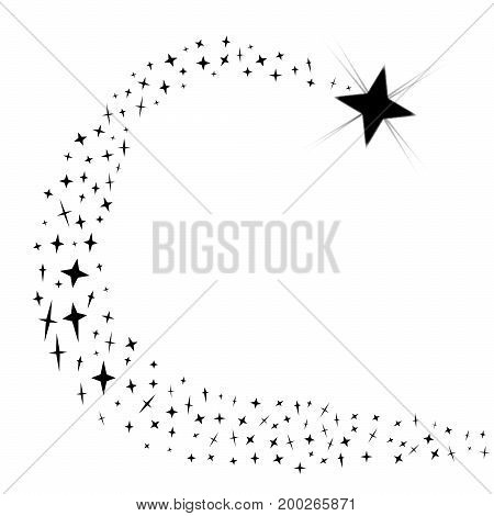 A shooting star with star trail isolated on a white background