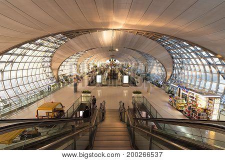 June 23rd 2017 Suvarnabhumi Airport Bangkok Thailand. Passenger Departure Terminal. Modern stylish architecture.