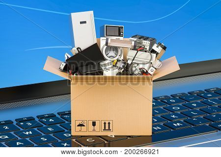 Online Shopping concept cardboard box full of home appliances on laptop keyboard 3D rendering