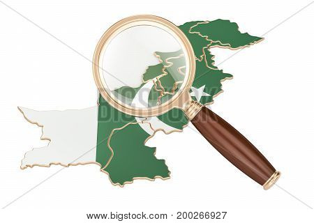 Pakistan under magnifying glass analysis concept 3D rendering isolated on white background