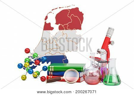 Scientific research in Netherlands concept 3D rendering isolated on white background