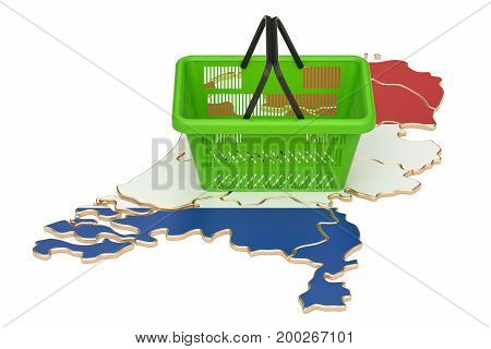 Shopping basket on Netherlands map market basket or purchasing power. 3D rendering