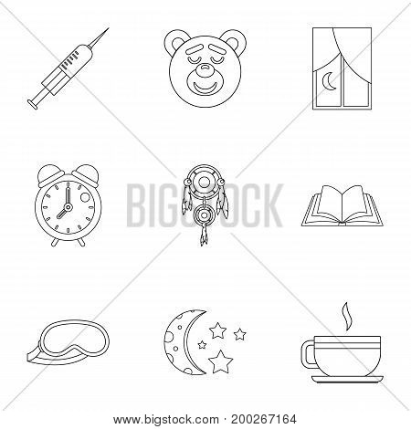 Sleeping icon set. Outline style set of 9 sleeping vector icons for web isolated on white background