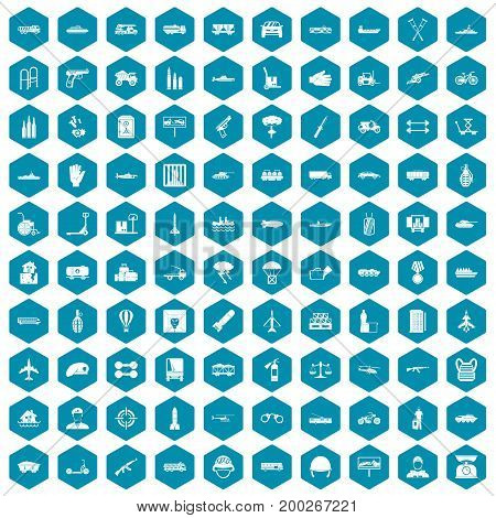 100 burden icons set in sapphirine hexagon isolated vector illustration