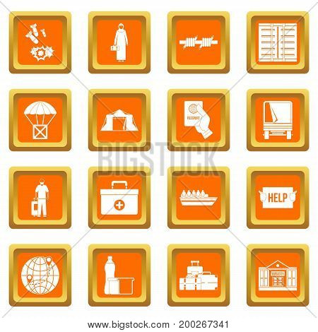 Refugees problem icons set in orange color isolated vector illustration for web and any design