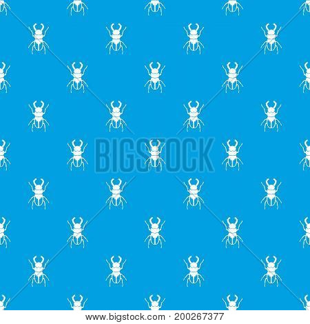 Rhinoceros beetle pattern repeat seamless in blue color for any design. Vector geometric illustration