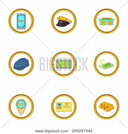 Taxi driver icons set. Cartoon illustration of 9 taxi driver vector icons for web design