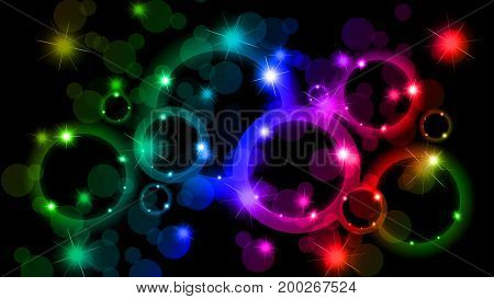 Bokeh abstract background in different colors, vector art illustration.