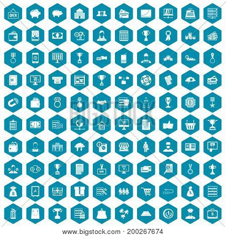 100 business icons set in sapphirine hexagon isolated vector illustration