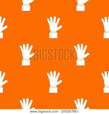 Hand showing five fingers pattern repeat seamless in orange color for any design. Vector geometric illustration