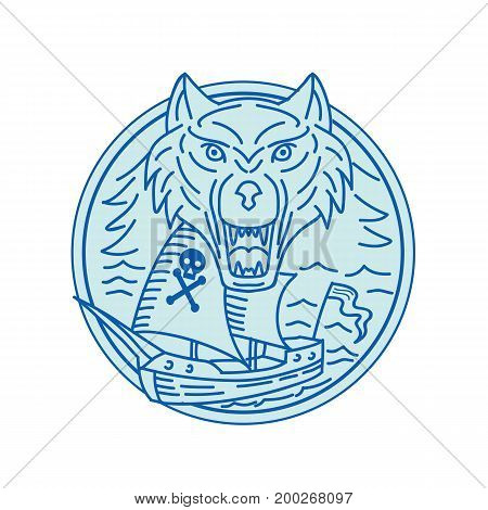 Mono line style illustration of a seawolf and pirate ship viewed from front set inside circle.