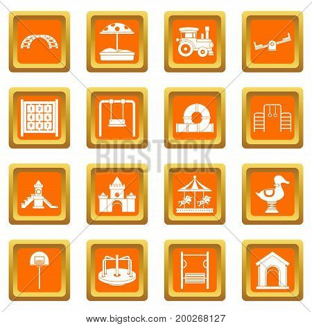 Playground icons set in orange color isolated vector illustration for web and any design