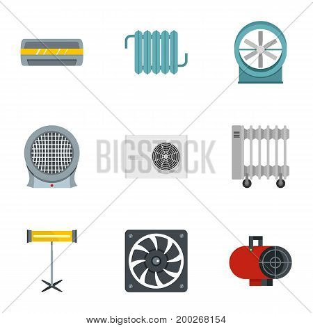 House heater icon set. Flat style set of 9 house heater vector icons for web isolated on white background