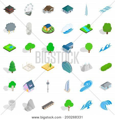 Water element icons set. Isometric style of 36 water element vector icons for web isolated on white background