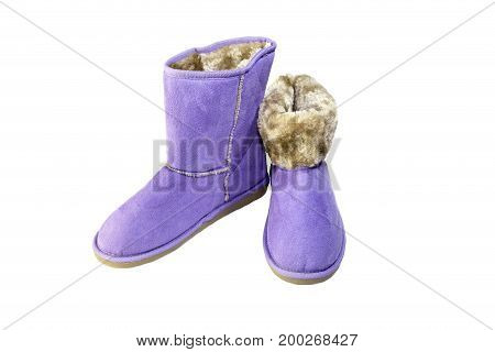 Winter, women's purple boots on a white background close-up