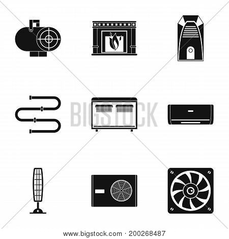 Heating convector icon set. Simple style set of 9 heating convector vector icons for web isolated on white background
