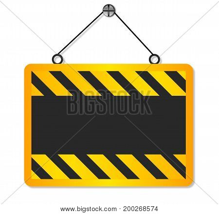 There's a sign under construction, vector art illustration.