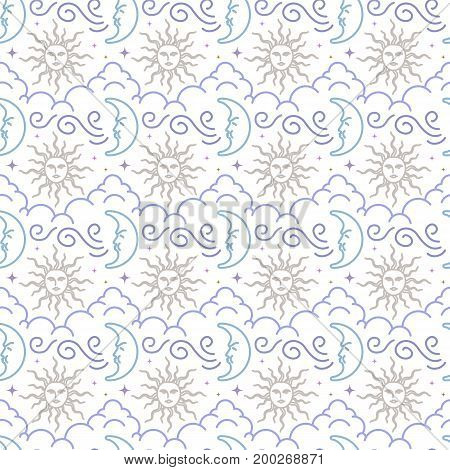 Vintage Seamless Pattern Of Moon, Sun, Clouds, Stars