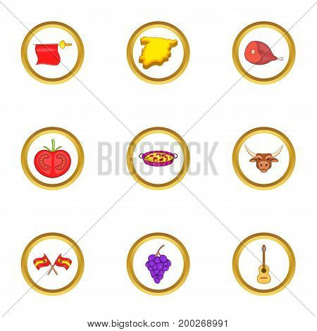 Spanish culture icons set. Cartoon illustration of 9 spanish culture vector icons for web design