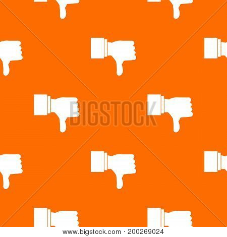 Thumb down gesture pattern repeat seamless in orange color for any design. Vector geometric illustration