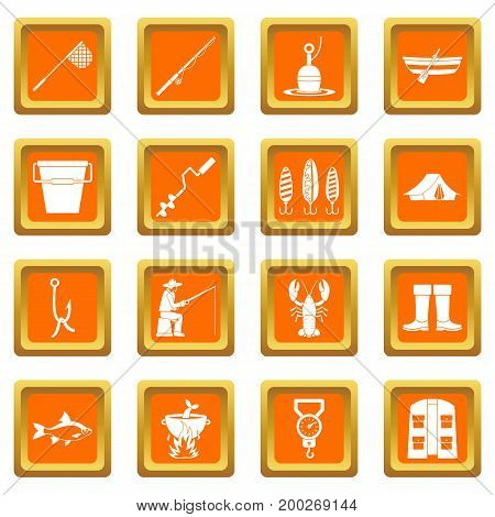 Fire fighting icons set in orange color isolated vector illustration for web and any design