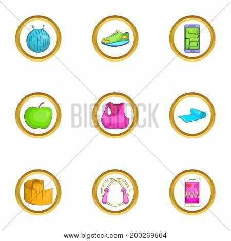 Aerobic icons set. Cartoon illustration of 9 aerobic vector icons for web design