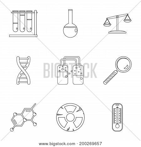 Chemical experience icon set. Outline style set of 9 chemical experience vector icons for web isolated on white background