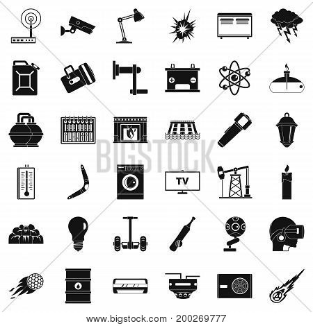 Useful energy icons set. Simple style of 36 useful energy vector icons for web isolated on white background