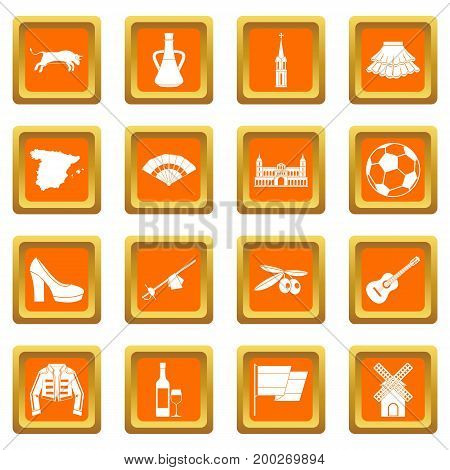 Spain travel icons set in orange color isolated vector illustration for web and any design
