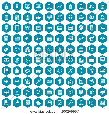 100 business training icons set in sapphirine hexagon isolated vector illustration