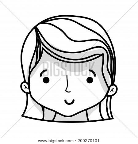 line cute woman head with hairstyle design vector illustration