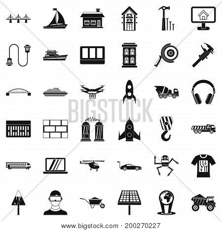 Engineering in industry icons set. Simple style of 36 engineering in industry vector icons for web isolated on white background