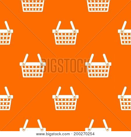 Shopping basket pattern repeat seamless in orange color for any design. Vector geometric illustration