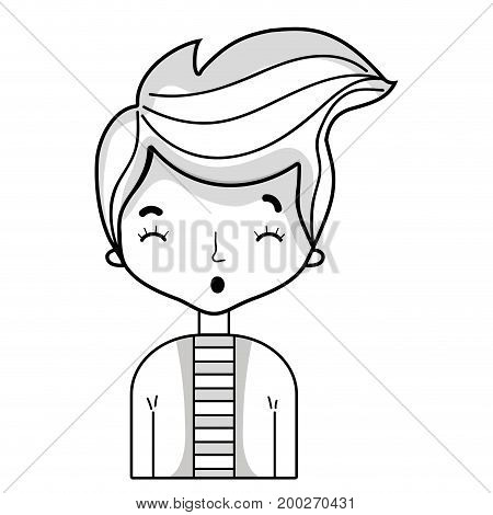 line cute man with hairstyle design and shirt vector illustration