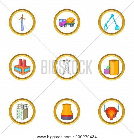 Industrial icons set. Cartoon illustration of 9 industrial vector icons for web design