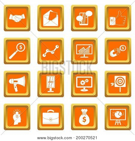 Marketing items icons set in orange color isolated vector illustration for web and any design