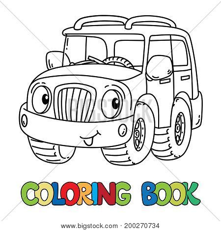 Offroader or SUV coloring book for kids. Small funny vector cute jeep car with eyes and mouth. Children vector illustration