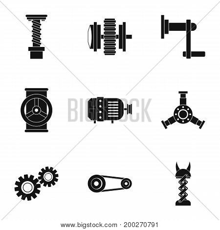 Mechanical gear icon set. Simple style set of 9 mechanical gear vector icons for web isolated on white background